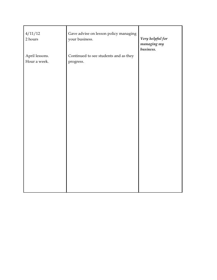 Product Work Log Template Word