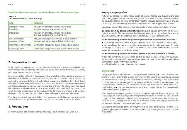 page 20 page 21 Les sites suivants ne sont pas recommandés pour la culture du moringa. Tableau 4 Sites indésirables pour l...