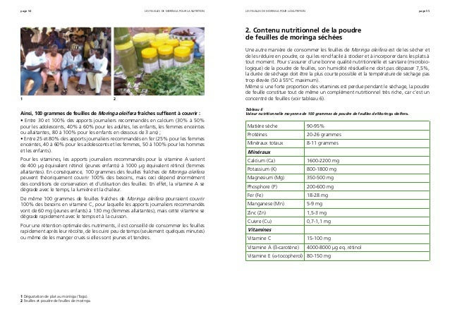 page 54 page 55 Ainsi, 100 grammes de feuilles de Moringa oleifera fraîches suffisent à couvrir : • Entre 30 et 100% des a...