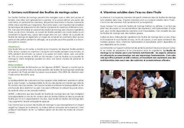 page 58 page 59 3. Contenu nutritionnel des feuilles de moringa cuites Les feuilles fraîches de moringa peuvent être mangé...