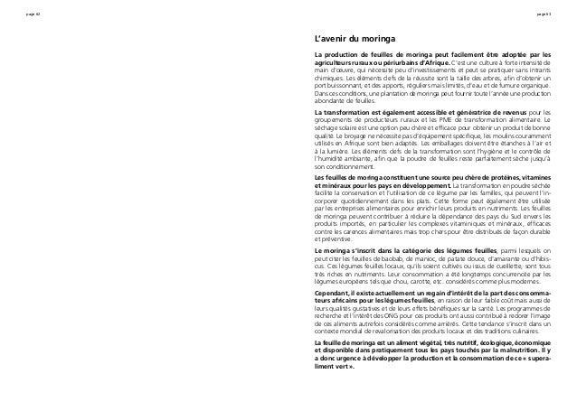 page 62 page 63 L'avenir du moringa La production de feuilles de moringa peut facilement être adoptée par les agriculteurs...