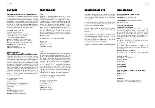 page 68 page 69 Auteurs Moringa Association of Ghana (MAG) L'association a été créée en novembre 2006, pendant la deuxième...