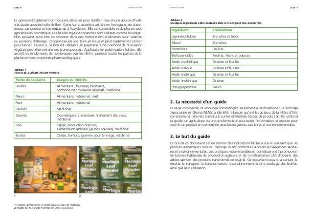 page 14 page 15 La graine est également un floculant utilisable pour clarifier l'eau et une source d'huile très stable app...