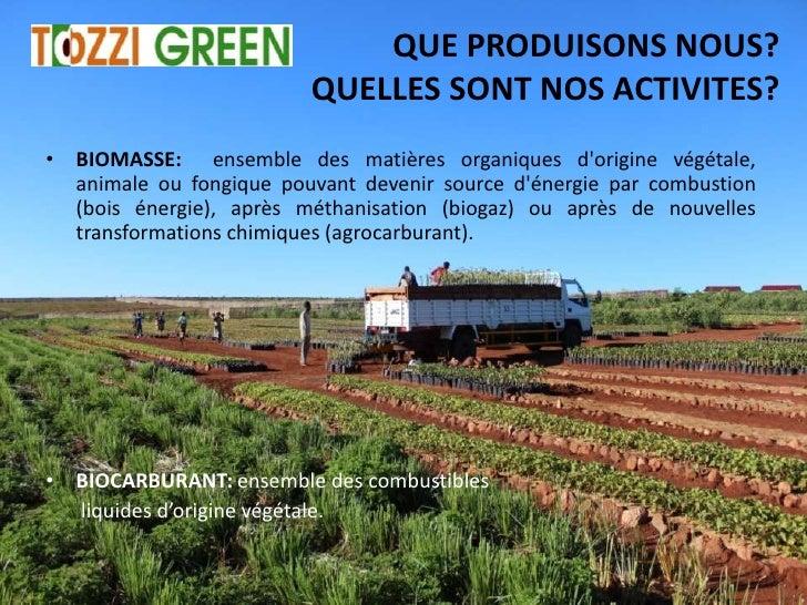QUE PRODUISONS NOUS?                         QUELLES SONT NOS ACTIVITES?• BIOMASSE: ensemble des matières organiques dorig...