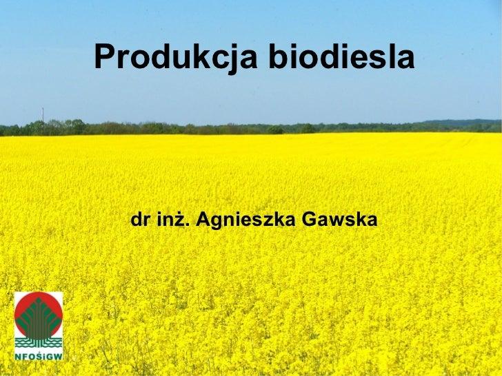 <ul><ul><li>Produkcja biodiesla </li></ul></ul><ul><ul><li>dr inż. Agnieszka Gawska </li></ul></ul>