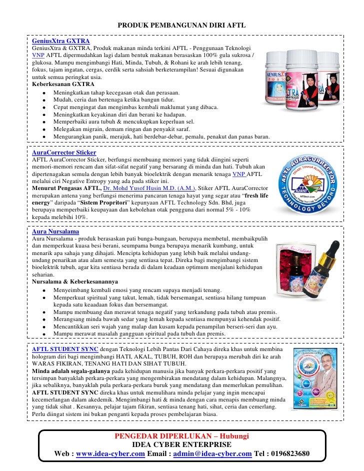 PRODUK PEMBANGUNAN DIRI AFTLGeniusXtra GXTRAGeniusXtra & GXTRA, Produk makanan minda terkini AFTL - Penggunaan TeknologiVN...