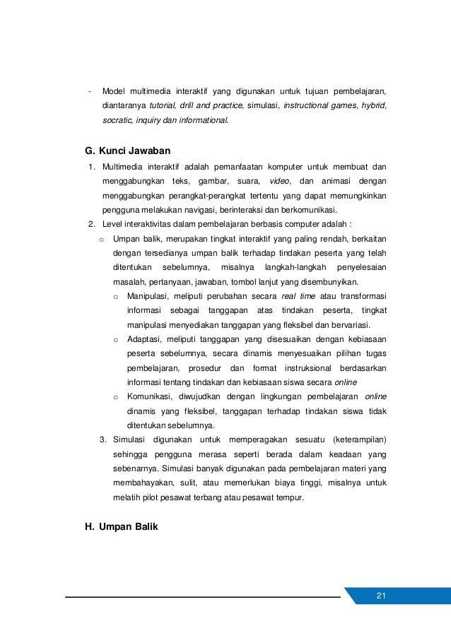 22 Dari kegiatan pembelajaran konsep multimedia interaktif diharapkan untuk mengisi umpan balik dari aktivitas pembelajara...