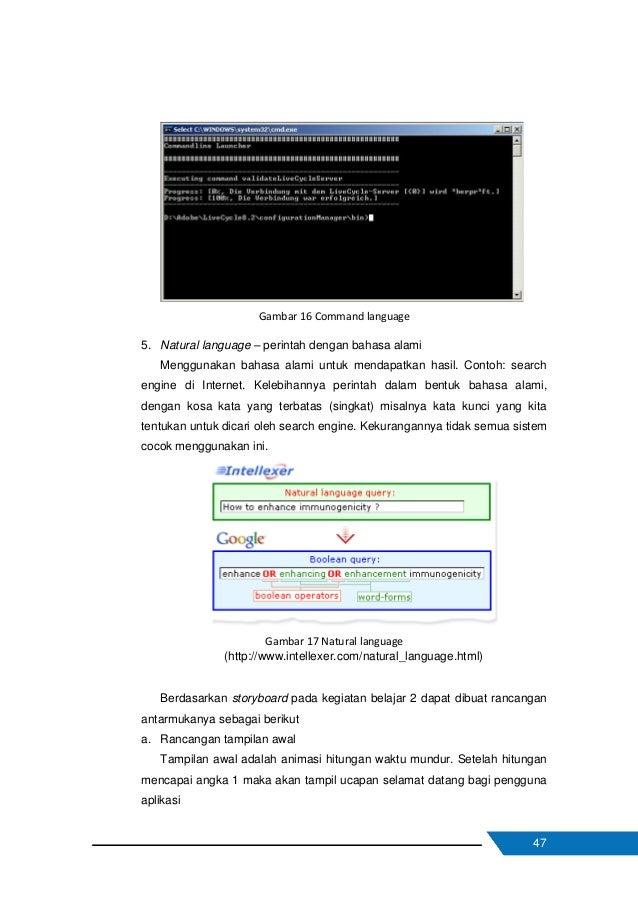 48 Gambar 18 Rancangan tampilan awal b. Rancangan tampilan halaman judul Halaman judul menampilkan judul materi dalam apli...