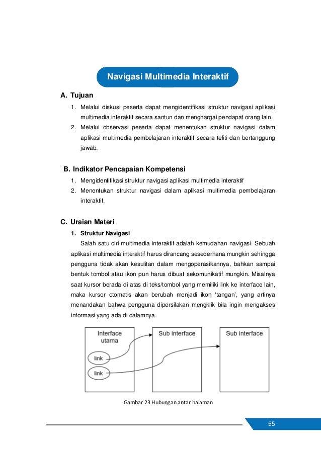56 Struktur navigasi digunakan sebagai penuntun alur sebuah aplikasi multimedia atau dapat pula dianalogikan sebagai diagr...