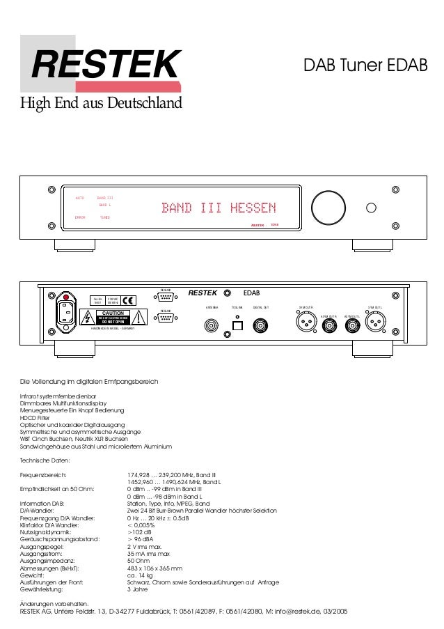 High End aus Deutschland  AUTO BAND III  BAND L  TUNED  Ser.-Nr.  fehlt !  230 VAC  50/60 Hz  CAUTION  RISK OF ELECTRIC SH...
