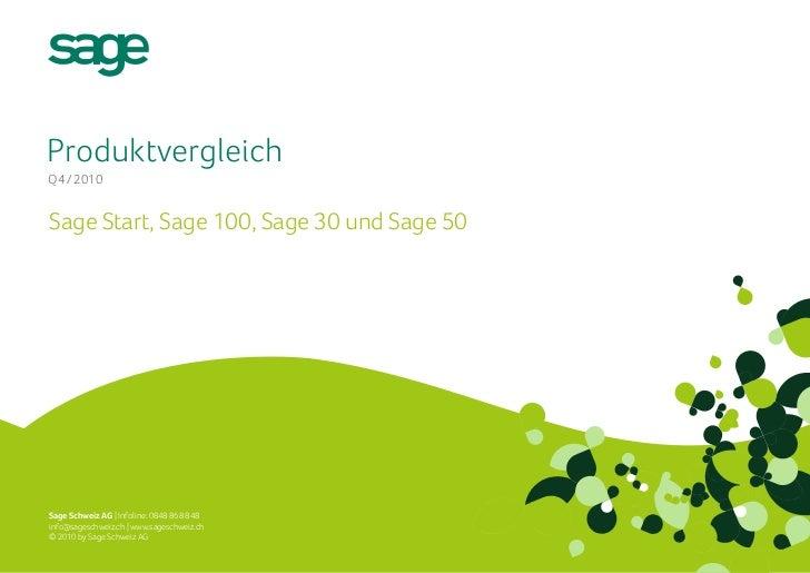 ProduktvergleichQ4 / 2010Sage Start, Sage 100, Sage 30 und Sage 50Sage Schweiz AG | Infoline: 0848 868 848info@sageschweiz...
