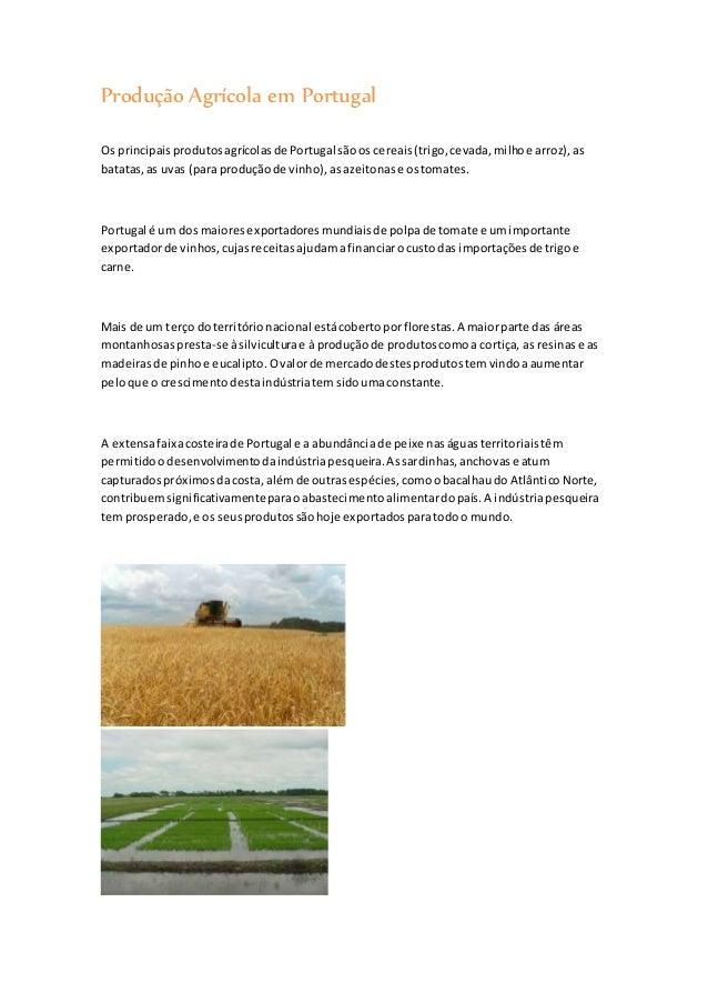Produção Agrícola em Portugal  Os principais produtos agrícolas de Portugal são os cereais (trigo, cevada, milho e arroz),...