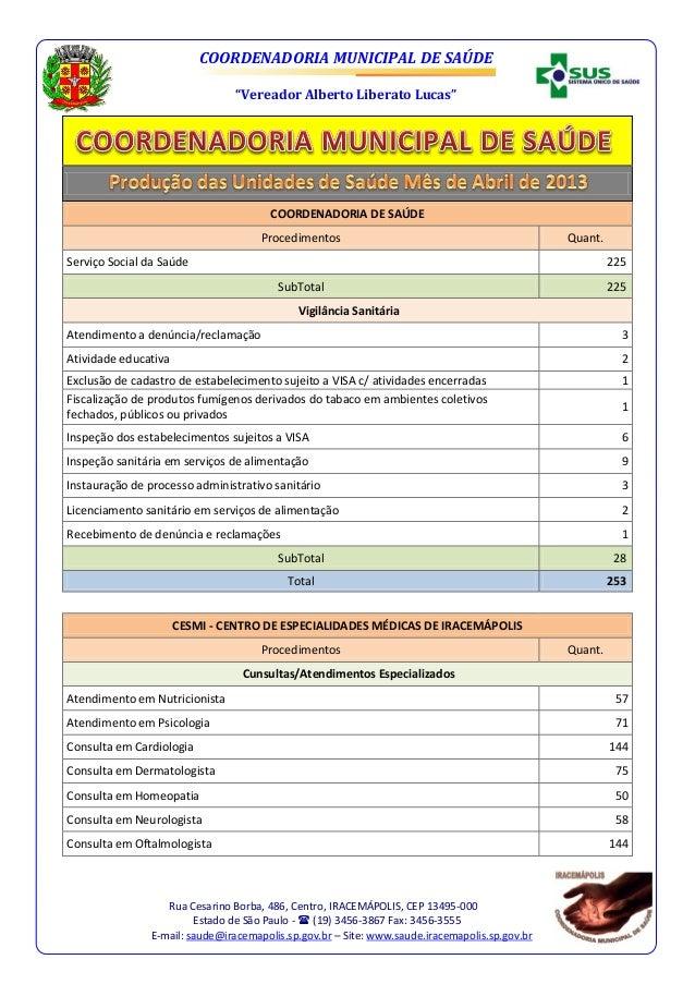 """COORDENADORIA MUNICIPAL DE SAÚDE""""Vereador Alberto Liberato Lucas""""Rua Cesarino Borba, 486, Centro, IRACEMÁPOLIS, CEP 13495-..."""