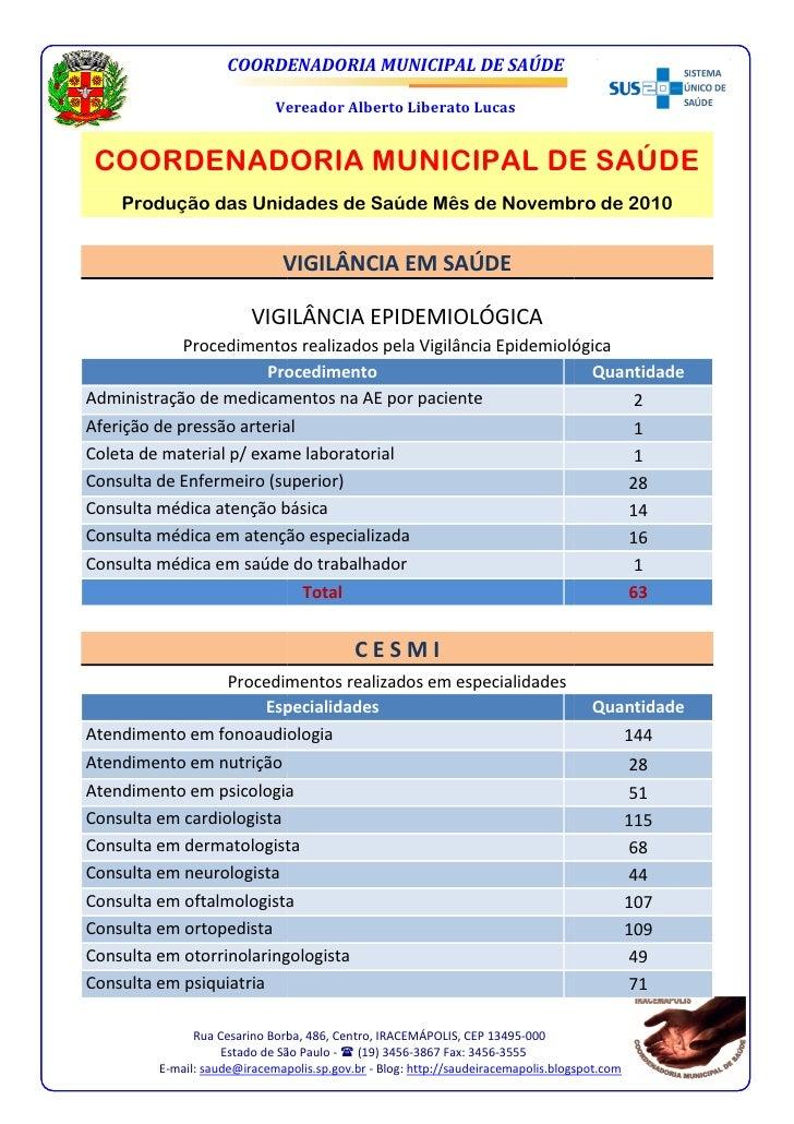 COORDENADORIA MUNICIPAL DE SAÚDE                             Vereador Alberto Liberato Lucas COORDENADORIA MUNICIPAL DE SA...