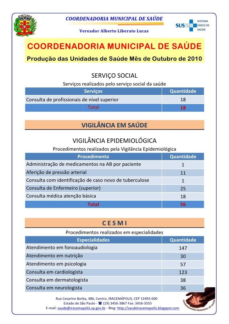 COORDENADORIA MUNICIPAL DE SAÚDE                             Vereador Alberto Liberato LucasCOORDENADORIA MUNICIPAL DE SAÚ...