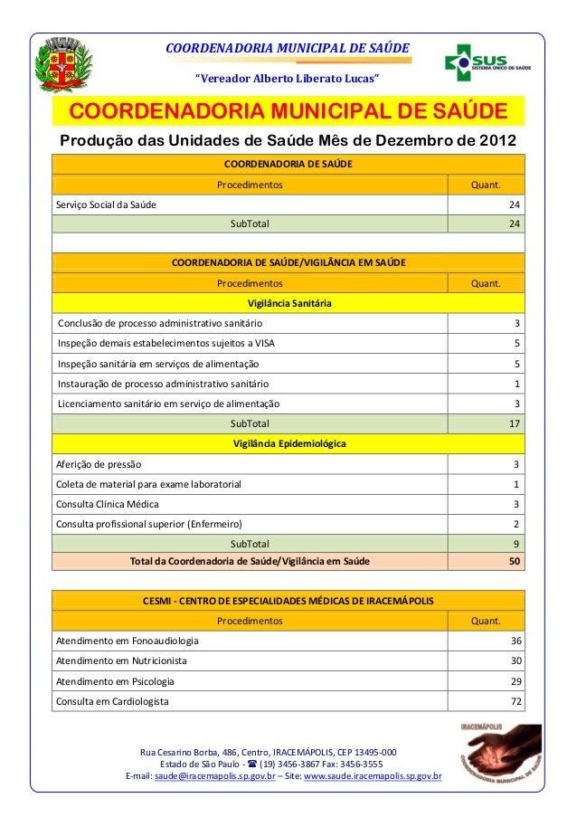 """COORDENADORIA MUNICIPAL DE SAÚDE                                 """"Vereador Alberto Liberato Lucas""""  COORDENADORIA MUNICIPA..."""