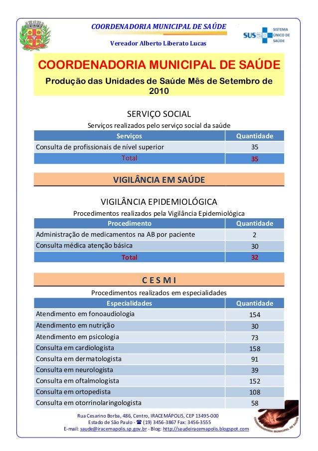 COORDENADORIA MUNICIPAL DE SAÚDE Vereador Alberto Liberato Lucas Rua Cesarino Borba, 486, Centro, IRACEMÁPOLIS, CEP 13495-...
