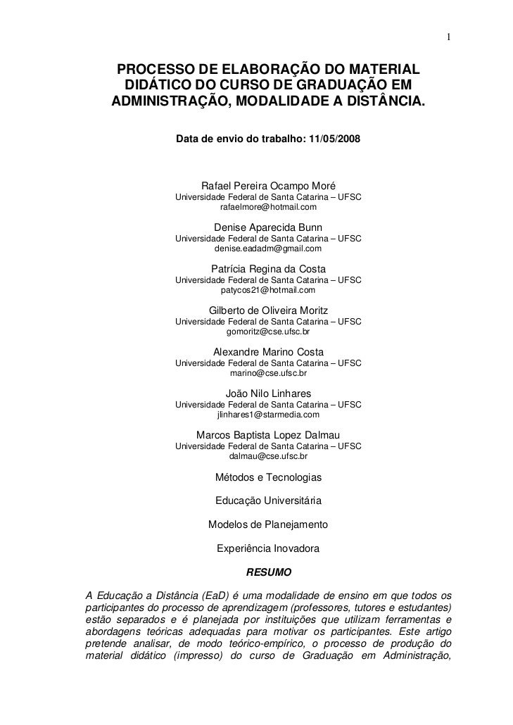 1      PROCESSO DE ELABORAÇÃO DO MATERIAL       DIDÁTICO DO CURSO DE GRADUAÇÃO EM     ADMINISTRAÇÃO, MODALIDADE A DISTÂNCI...