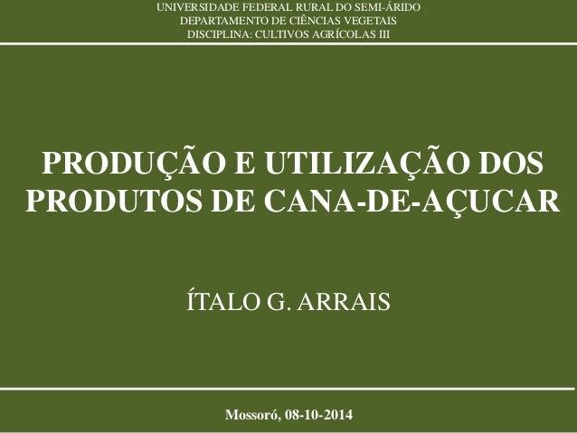 UNIVERSIDADE FEDERAL RURAL DO SEMI-ÁRIDO  DEPARTAMENTO DE CIÊNCIAS VEGETAIS  DISCIPLINA: CULTIVOS AGRÍCOLAS III  PRODUÇÃO ...