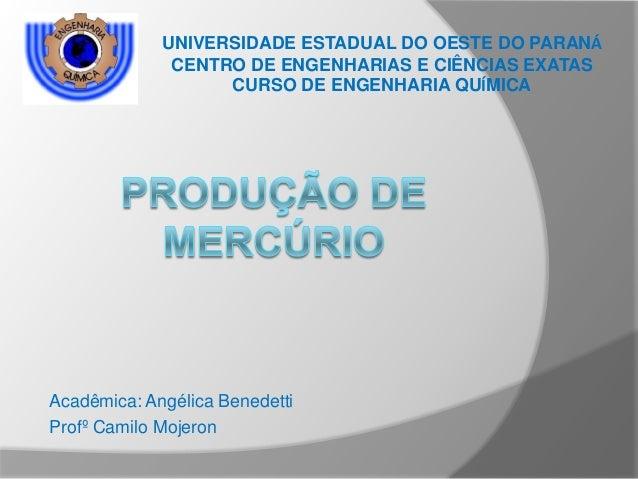 Acadêmica: Angélica BenedettiProfº Camilo MojeronUNIVERSIDADE ESTADUAL DO OESTE DO PARANÁCENTRO DE ENGENHARIAS E CIÊNCIAS ...