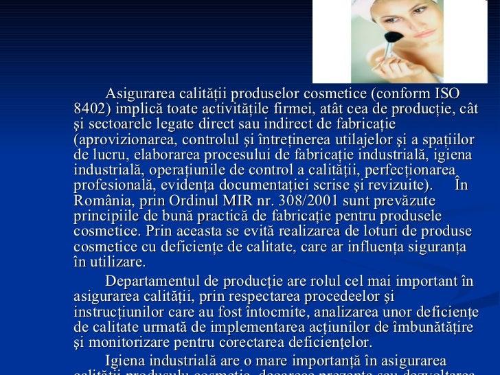 Calitatea produselor cosmetice