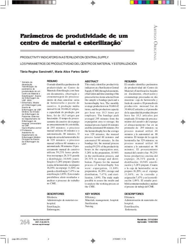 ARTIGO ORIGINAL         Parâmetros de produtividade de um         centro de material e esterilização*         PRODUCTIVITY...