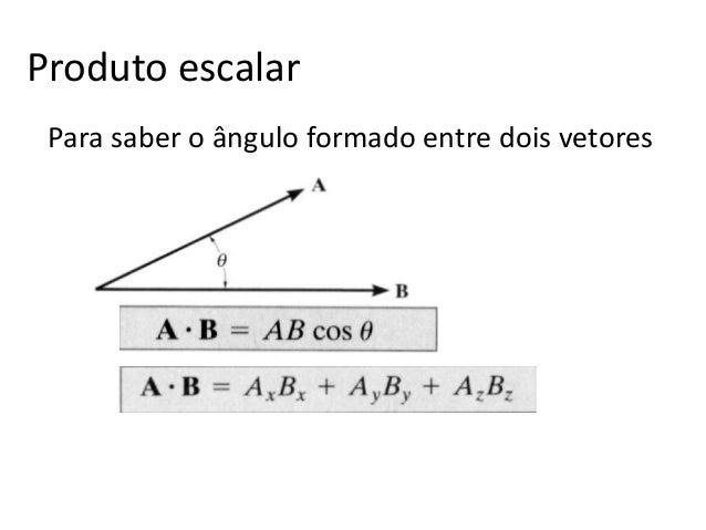 Produto escalar Para saber o ângulo formado entre dois vetores