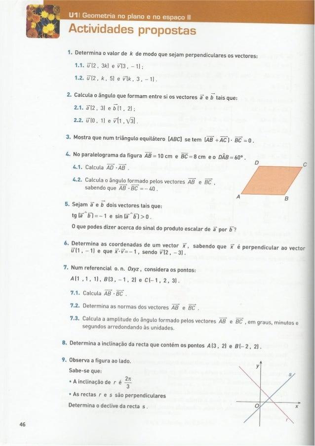 Produto escalar geometria no plano e no espaço 11º exercícios