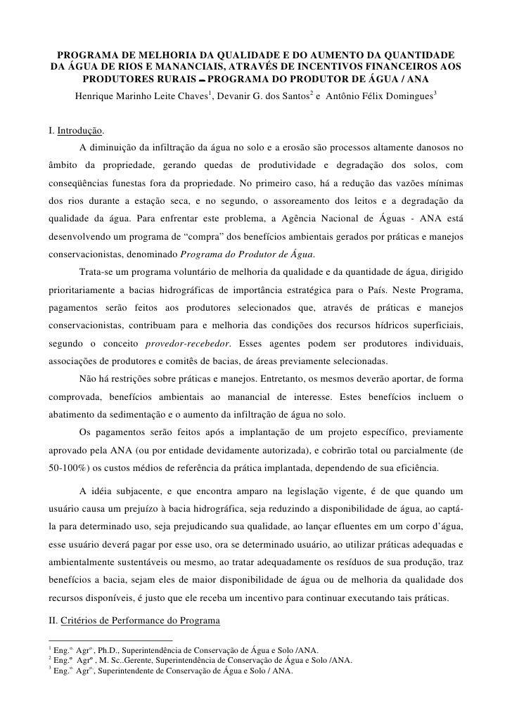 PROGRAMA DE MELHORIA DA QUALIDADE E DO AUMENTO DA QUANTIDADEDA ÁGUA DE RIOS E MANANCIAIS, ATRAVÉS DE INCENTIVOS FINANCEIRO...