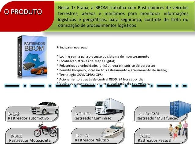 O PRODUTOO PRODUTONesta 1ª Etapa, a BBOM trabalha com Rastreadores de veículosterrestres, aéreos e marítimos para monitora...
