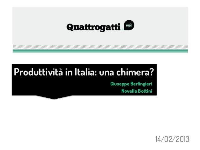 Produttività in Italia: una chimera?                        Giuseppe Berlingieri                             Novella Botti...