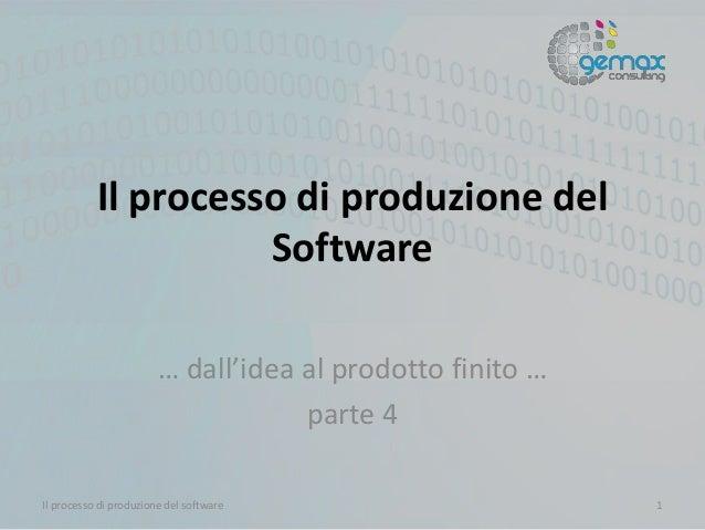 Il processo di produzione del Software … dall'idea al prodotto finito … parte 4 Il processo di produzione del software 1