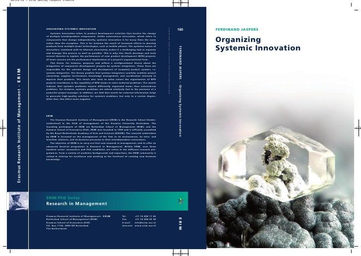 Organizing Systemic Innovation