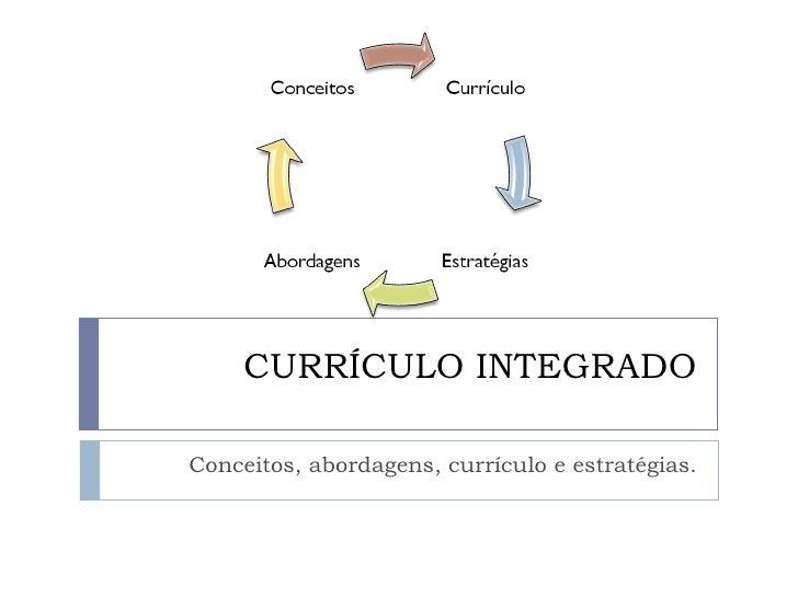 CURRÍCULO INTEGRADO Conceitos, abordagens, currículo e estratégias.
