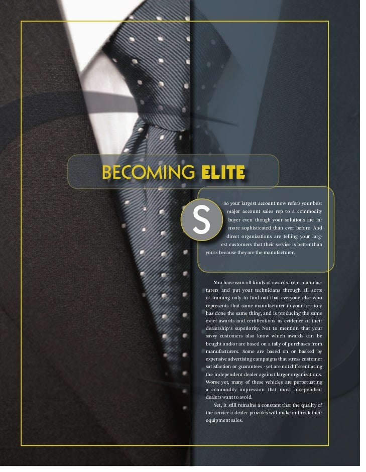 BECOMING ELITE        S                  So your largest account now refers your best                    major account sal...