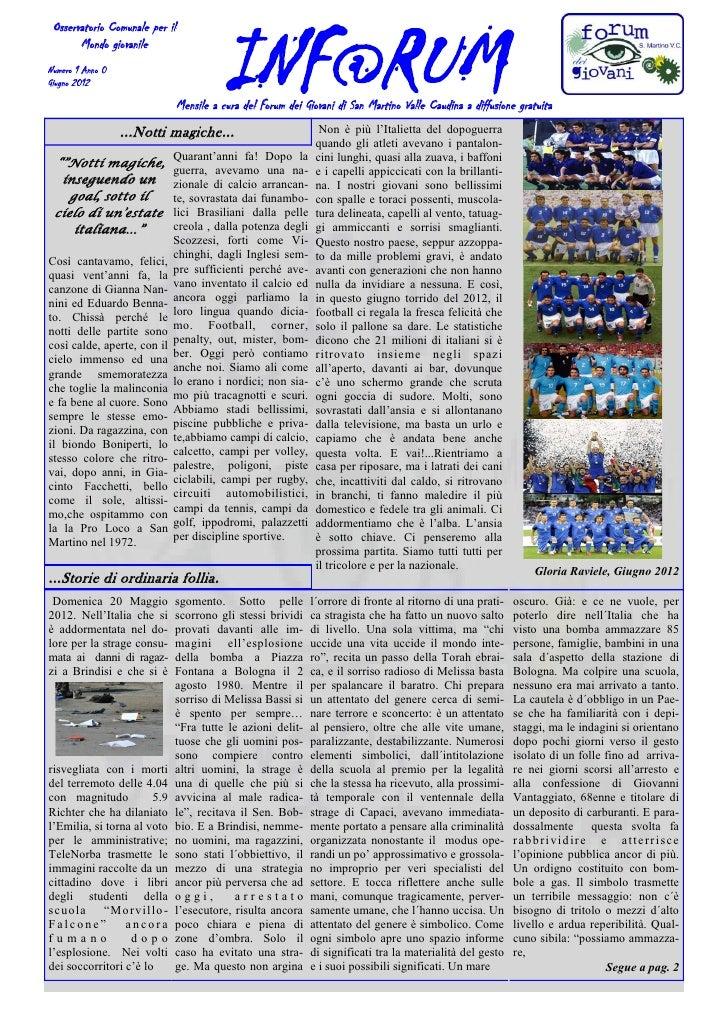 INF@RUM Osservatorio Comunale per il       Mondo giovanileNumero 1 Anno 0Giugno 2012                                Mensil...