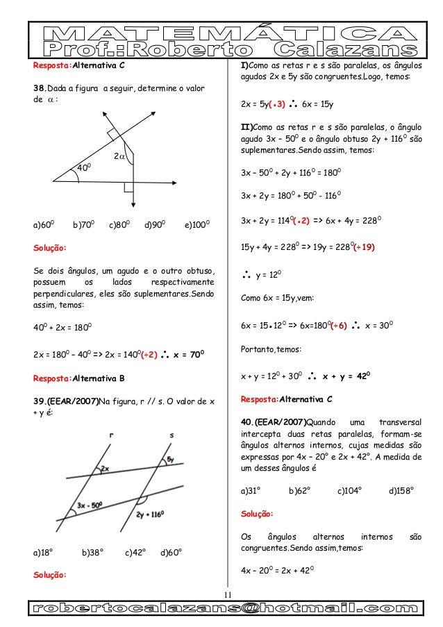 11 Resposta:Alternativa C 38.Dada a figura a seguir, determine o valor de  : 2 400 a)600 b)700 c)800 d)900 e)1000 Soluçã...