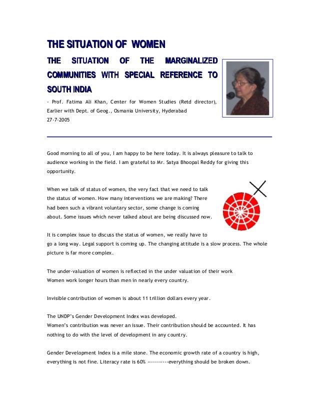THE SITUATION OF WOMENTHE SITUATION OF WOMEN THE SITUATION OF THE MARGINALIZEDTHE SITUATION OF THE MARGINALIZED COMMUNITIE...