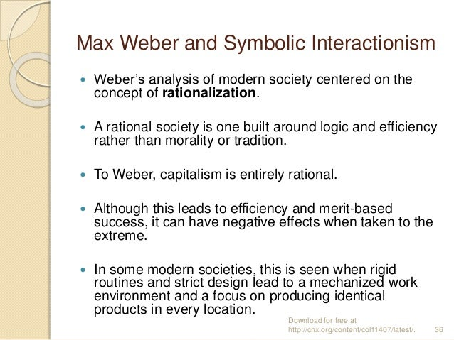 max weber and symbolic interaction ism Although symbolic interactionism traces its origins to max weber's assertion that individuals act according to their interpretation of the meaning of their world, the american philosopher george h mead (1863–1931) introduced this perspective to american sociology in the 1920s.