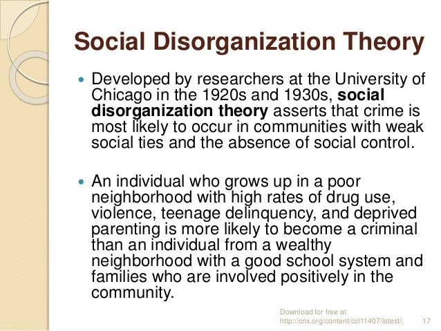 essay on social disorganization theory Social disorganization theory essay - 2432 words there are several theories that explain why juveniles become delinquent some of the sociological theories include anomie, social disorganization, drift theory, and differential association theory.