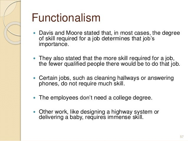 What is missing from the outline of the davis-moore thesis