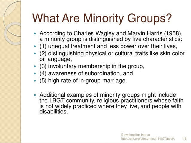what is a minority group Morale and minority groups louis wirth abstract as a nation  composed of many diverse racial and cultural elements, the united states faces  a.