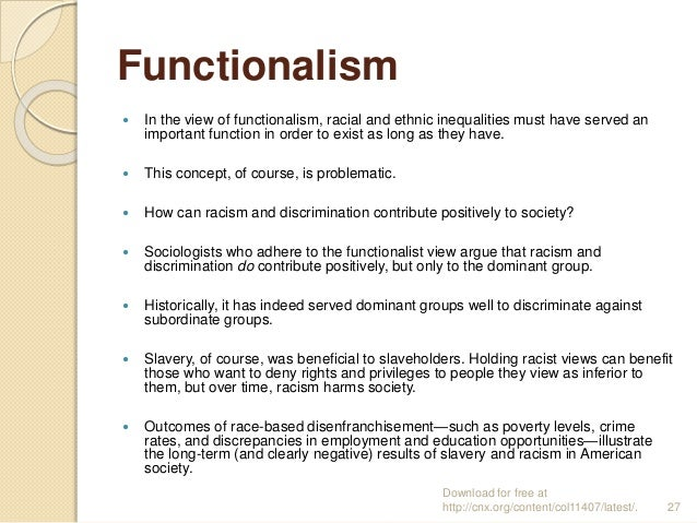 do functionalist and conflict theories explain trends and Within sociology, theories attempt to explain why groups of people choose to perform certain actions and how societies function or change in a certain way lesson will briefly cover the four major theories in sociology, which are structural- functional theory, social conflict theory, feminism, and symbolic interactionism theory.