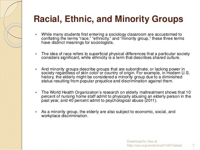 ethnic groups and discrimination assignment Introduction the us racial/ethnic academic achievement gap is a well-documented social inequality [] national assessments for science, mathematics, and reading show that white students score higher on average than all other racial/ethnic groups, particularly.