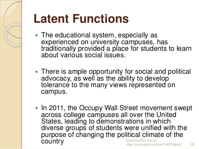 manifest functions of education sociology