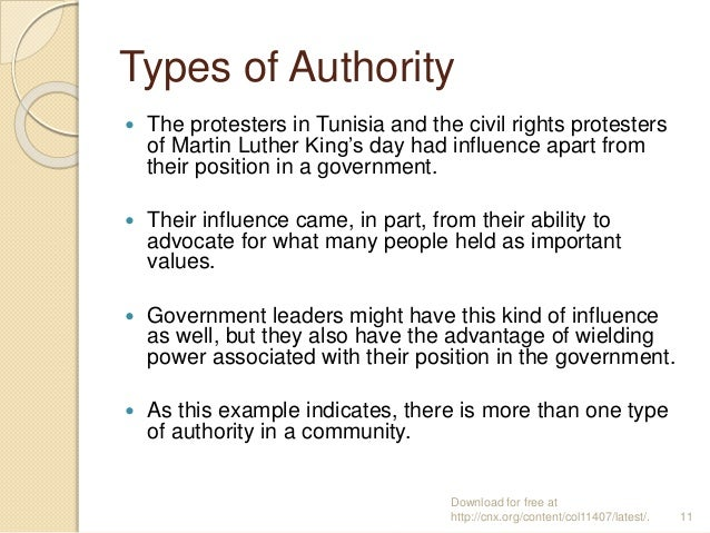 Types of Authority  The protesters in Tunisia and the civil rights protesters of Martin Luther King's day had influence a...