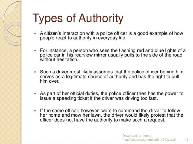 Types of Authority  A citizen's interaction with a police officer is a good example of how people react to authority in e...