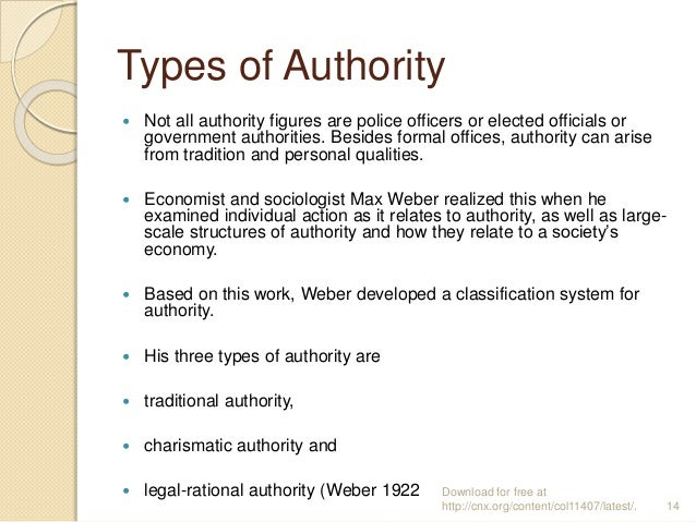 Types of Authority  Not all authority figures are police officers or elected officials or government authorities. Besides...