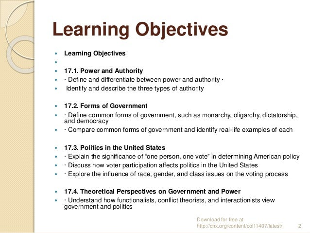 Learning Objectives  Learning Objectives   17.1. Power and Authority  · Define and differentiate between power and aut...