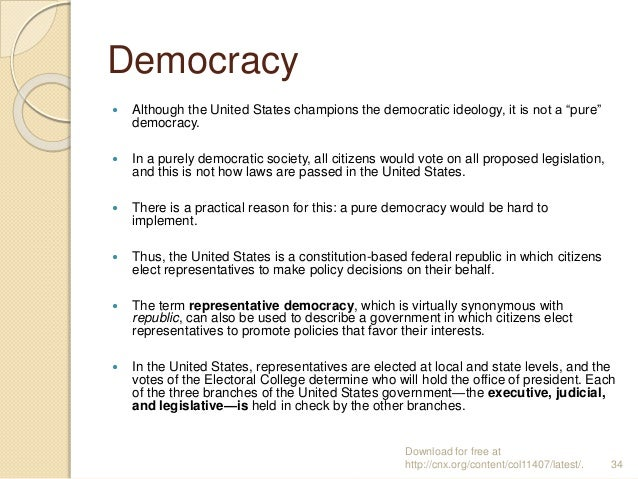 """Democracy  Although the United States champions the democratic ideology, it is not a """"pure"""" democracy.  In a purely demo..."""